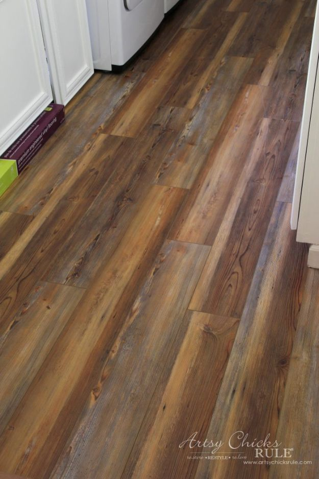 DIY Flooring Projects - Farmhouse Vinyl Plank Flooring - Cheap Floor Ideas for Those On A Budget - Inexpensive Ways To Refinish Floors With Concrete, Laminate, Plywood, Peel and Stick Tile, Wood, Vinyl - Easy Project Plans and Unique Creative Tutorials for Cool Do It Yourself Home Decor http://diyjoy.com/diy-flooring-projects