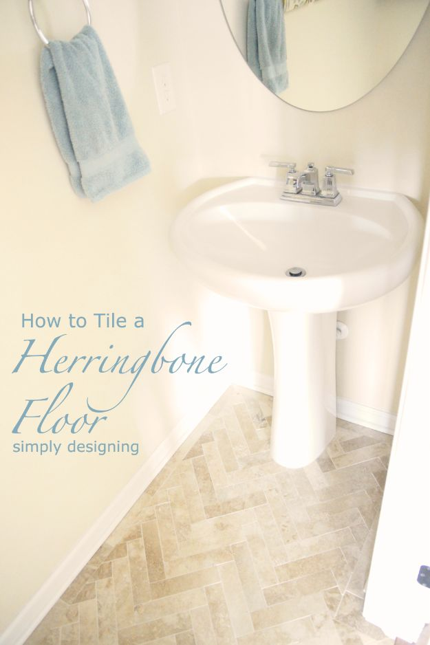 DIY Flooring Projects - Herringbone Bathroom Tile Floor - Cheap Floor Ideas for Those On A Budget - Inexpensive Ways To Refinish Floors With Concrete, Laminate, Plywood, Peel and Stick Tile, Wood, Vinyl - Easy Project Plans and Unique Creative Tutorials for Cool Do It Yourself Home Decor http://diyjoy.com/diy-flooring-projects