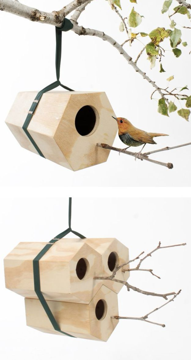 DIY Bird Houses - Hexagon Modular Birdhouse - Easy Bird House Ideas for Kids and Adult To Make - Free Plans and Tutorials for Wooden, Simple, Upcyle Designs, Recycle Plastic and Creative Ways To Make Rustic Outdoor Decor and a Home for the Birds - Fun Projects for Your Backyard This Summer http://diyjoy.com/diy-bird-houses