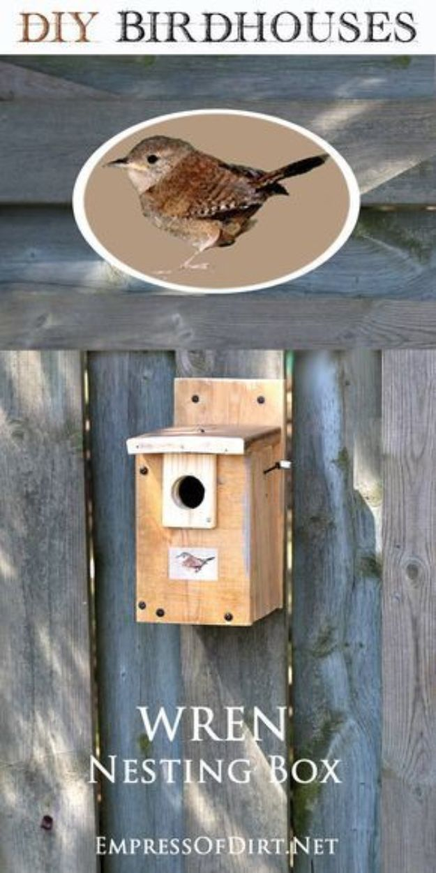DIY Bird Houses - Make a Wren Nesting Box - Easy Bird House Ideas for Kids and Adult To Make - Free Plans and Tutorials for Wooden, Simple, Upcyle Designs, Recycle Plastic and Creative Ways To Make Rustic Outdoor Decor and a Home for the Birds - Fun Projects for Your Backyard This Summer http://diyjoy.com/diy-bird-houses