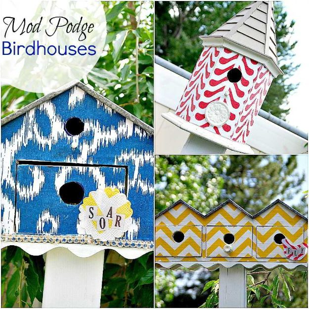 DIY Bird Houses - Mod Podge Birdhouses - Easy Bird House Ideas for Kids and Adult To Make - Free Plans and Tutorials for Wooden, Simple, Upcyle Designs, Recycle Plastic and Creative Ways To Make Rustic Outdoor Decor and a Home for the Birds - Fun Projects for Your Backyard This Summer http://diyjoy.com/diy-bird-houses