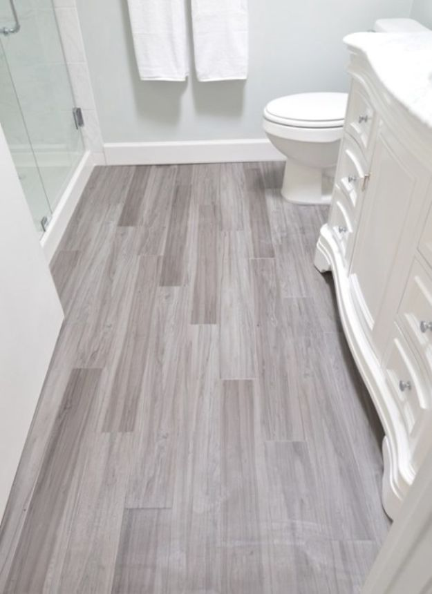 DIY Flooring Projects - Modern Vinyl Plank For Bathroom Floor - Cheap Floor Ideas for Those On A Budget - Inexpensive Ways To Refinish Floors With Concrete, Laminate, Plywood, Peel and Stick Tile, Wood, Vinyl - Easy Project Plans and Unique Creative Tutorials for Cool Do It Yourself Home Decor http://diyjoy.com/diy-flooring-projects