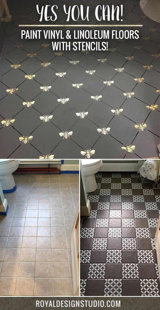 DIY Flooring Projects - Paint Vinyl & Linoleum Floor With Stencils - Cheap Floor Ideas for Those On A Budget - Inexpensive Ways To Refinish Floors With Concrete, Laminate, Plywood, Peel and Stick Tile, Wood, Vinyl - Easy Project Plans and Unique Creative Tutorials for Cool Do It Yourself Home Decor http://diyjoy.com/diy-flooring-projects