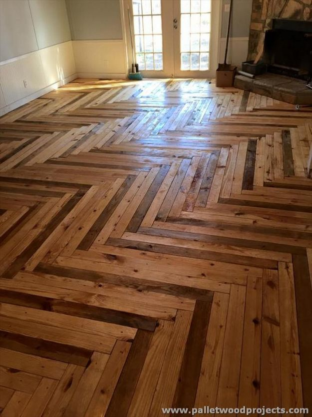 DIY Flooring Projects - Pallet Wood Flooring - Cheap Floor Ideas for Those On A Budget - Inexpensive Ways To Refinish Floors With Concrete, Laminate, Plywood, Peel and Stick Tile, Wood, Vinyl - Easy Project Plans and Unique Creative Tutorials for Cool Do It Yourself Home Decor http://diyjoy.com/diy-flooring-projects