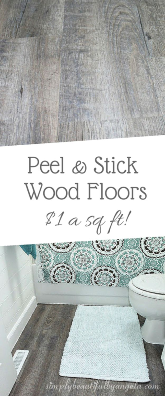 DIY Flooring Projects - Peel And Stick Wood Look Vinyl Flooring - Cheap Floor Ideas for Those On A Budget - Inexpensive Ways To Refinish Floors With Concrete, Laminate, Plywood, Peel and Stick Tile, Wood, Vinyl - Easy Project Plans and Unique Creative Tutorials for Cool Do It Yourself Home Decor http://diyjoy.com/diy-flooring-projects