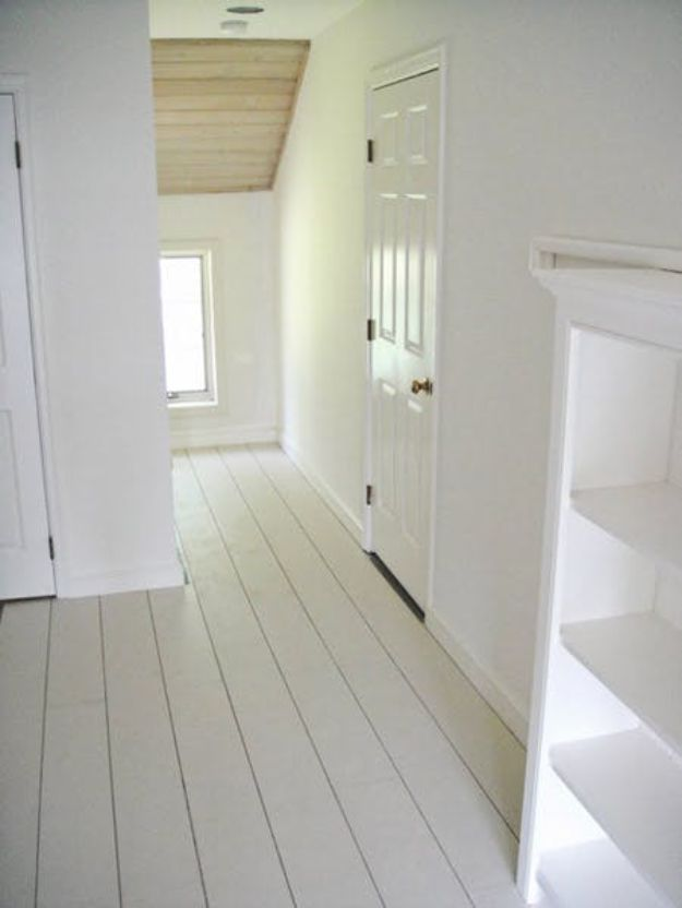 DIY Flooring Projects - Rustic White Painted Floors - Cheap Floor Ideas for Those On A Budget - Inexpensive Ways To Refinish Floors With Concrete, Laminate, Plywood, Peel and Stick Tile, Wood, Vinyl - Easy Project Plans and Unique Creative Tutorials for Cool Do It Yourself Home Decor http://diyjoy.com/diy-flooring-projects