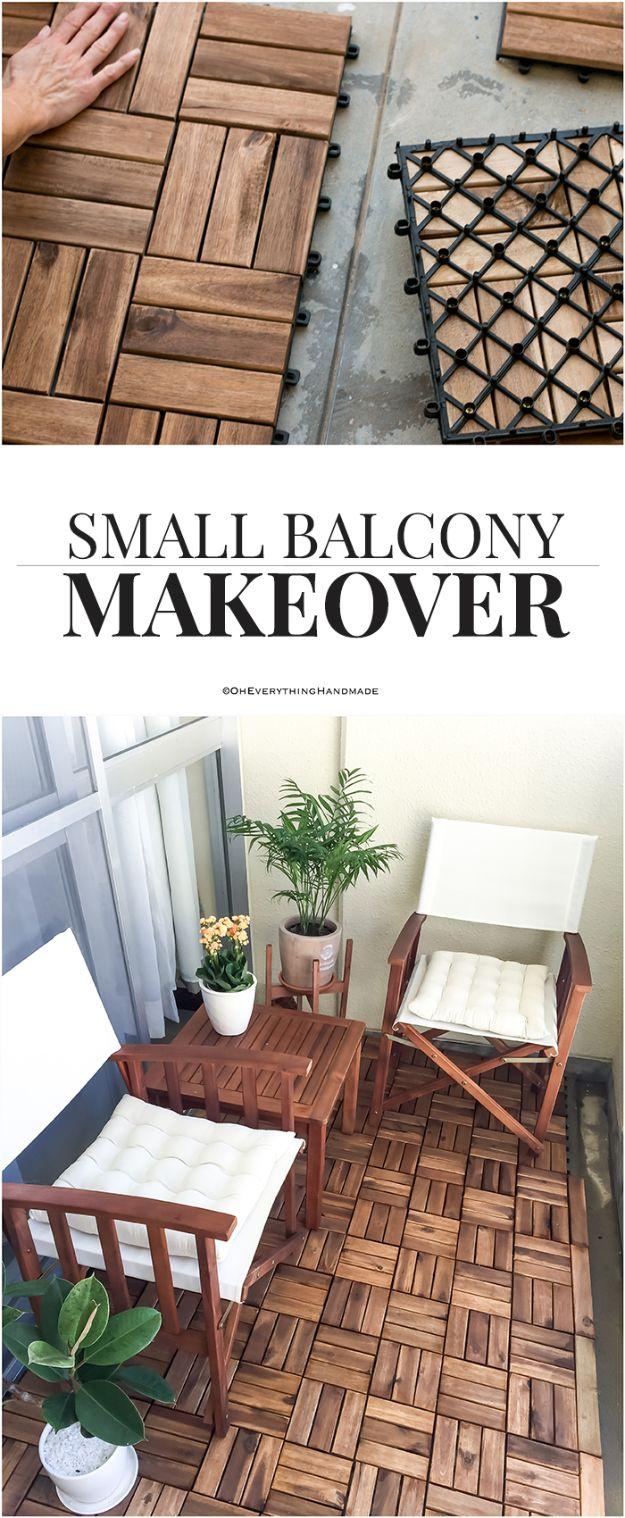 DIY Flooring Projects - Small Balcony Makeover - Cheap Floor Ideas for Those On A Budget - Inexpensive Ways To Refinish Floors With Concrete, Laminate, Plywood, Peel and Stick Tile, Wood, Vinyl - Easy Project Plans and Unique Creative Tutorials for Cool Do It Yourself Home Decor http://diyjoy.com/diy-flooring-projects