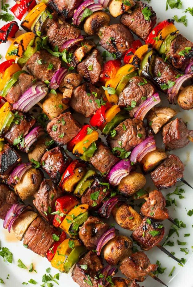 Best Barbecue Recipes - Steak Kebabs - Easy BBQ Recipe Ideas for Lunch, Dinner and Quick Party Appetizers - Grilled and Smoked Foods, Chicken, Beef and Meat, Fish and Vegetable Ideas for Grilling - Sauces and Rubs, Seasonings and Favorite Bar BBQ Tips http://diyjoy.com/best-bbq-recipes