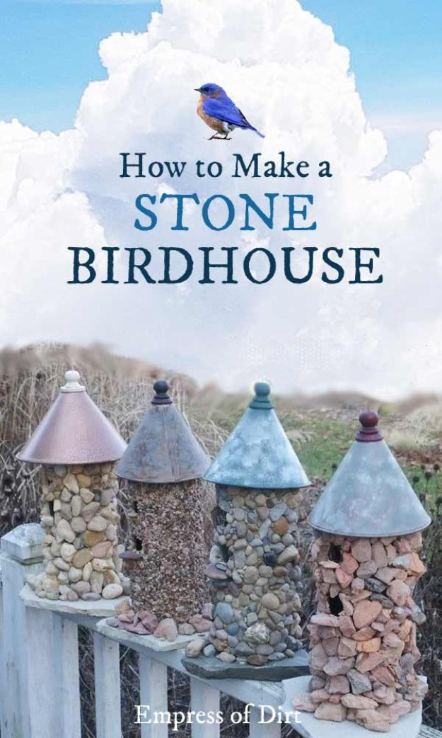 DIY Bird Houses - Stone Birdhouse - Easy Bird House Ideas for Kids and Adult To Make - Free Plans and Tutorials for Wooden, Simple, Upcyle Designs, Recycle Plastic and Creative Ways To Make Rustic Outdoor Decor and a Home for the Birds - Fun Projects for Your Backyard This Summer http://diyjoy.com/diy-bird-houses