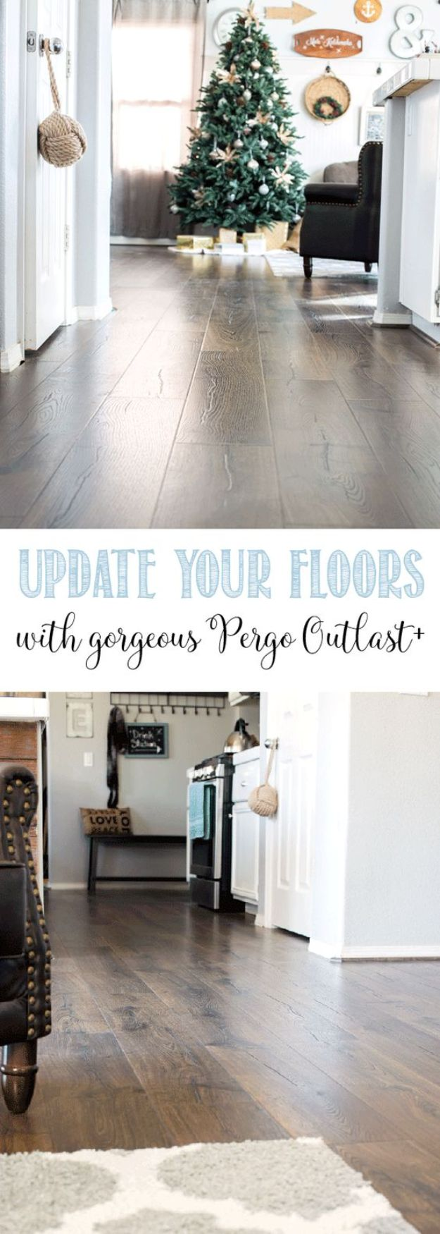 DIY Flooring Projects - Update Your Floors With Gorgeous Pergo Outlast - Cheap Floor Ideas for Those On A Budget - Inexpensive Ways To Refinish Floors With Concrete, Laminate, Plywood, Peel and Stick Tile, Wood, Vinyl - Easy Project Plans and Unique Creative Tutorials for Cool Do It Yourself Home Decor http://diyjoy.com/diy-flooring-projects