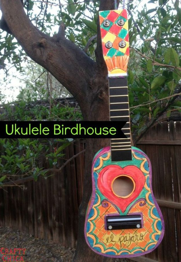 DIY Bird Houses - Woodburned Ukulele Birdhouse - Easy Bird House Ideas for Kids and Adult To Make - Free Plans and Tutorials for Wooden, Simple, Upcyle Designs, Recycle Plastic and Creative Ways To Make Rustic Outdoor Decor and a Home for the Birds - Fun Projects for Your Backyard This Summer http://diyjoy.com/diy-bird-houses