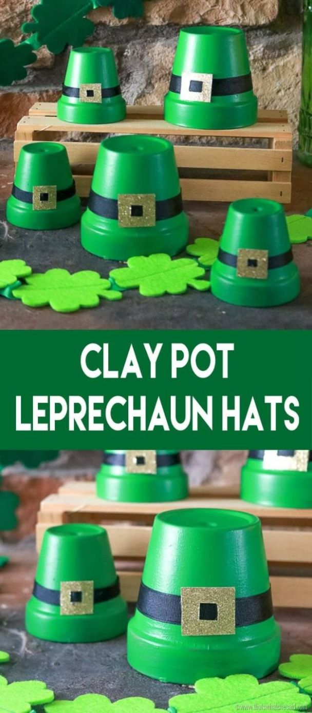 Clay Pot LeprecSt Patricks Day Decor Ideas - Clay Pot Leprechaun Hats - DIY St. Patrick's Day Party Decorations and Home Decor Crafts - Projects for Walls, Hanging Banners, Wreaths, Tabletop Centerpieces and Party Favors - Green Shamrocks, Leprechauns and Cute and Easy Do It Yourself Decor For Parties - Cheap Dollar Store Ideas for Those On A Budget http://diyjoy.com/diy-st-patricks-day-decorhaun Hats