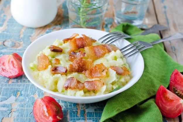 St Patrick's Day Food and Recipe Ideas -Colcannon - Irish Mashed Potatoes with Cabbage and Bacon - DIY St. Patrick's Day Party Recipes for Dinner, Desserts, Cookies, Cakes, Snacks, Dips and Drinks - Green Shamrocks, Leprechauns and Cute Party Foods - Easy Appetizers and Healthy Treats for Adults and Kids To Make - Potluck, Crockpot, Traditional and Corned Beef http://diyjoy.com/st-patricks-day-recipes