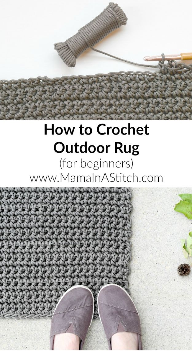 DIY Rugs - Crochet an Outdoor Rug - Ideas for An Easy Handmade Rug for Living Room, Bedroom, Kitchen Mat and Cheap Area Rugs You Can Make - Stencil Art Tutorial, Painting Tips, Fabric, Yarn, Old Denim Jeans, Rope, Tshirt, Pom Pom, Fur, Crochet, Woven and Outdoor Projects - Large and Small Carpet http://diyjoy.com/diy-rug-tutorials