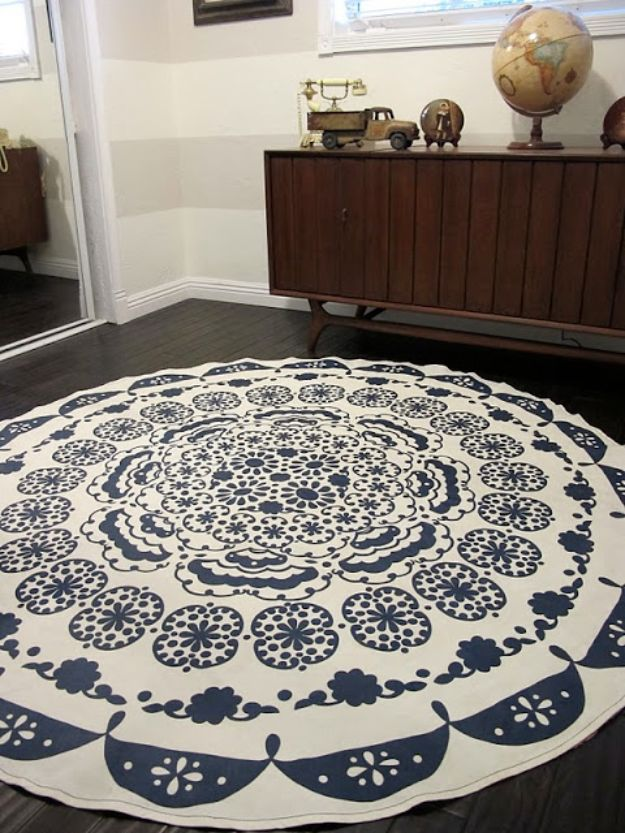 DIY Rugs - DIY Anthropologie Rug - Ideas for An Easy Handmade Rug for Living Room, Bedroom, Kitchen Mat and Cheap Area Rugs You Can Make - Stencil Art Tutorial, Painting Tips, Fabric, Yarn, Old Denim Jeans, Rope, Tshirt, Pom Pom, Fur, Crochet, Woven and Outdoor Projects - Large and Small Carpet http://diyjoy.com/diy-rug-tutorials