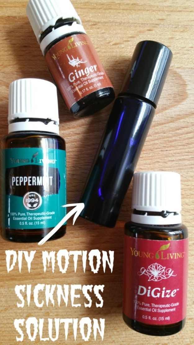 DIY Essential Oil Recipes and Ideas - DIY Essential Oils for Motion Sickness - Cool Recipes, Crafts and Home Decor to Make With Essential Oil - Diffuser Projects, Roll On Prodicts for Skin - Recipe Tutorials for Cleaning, Colds, For Sleep, For Hair, For Paint, For Weight Loss http://diyjoy.com/diy-ideas-essential-oils
