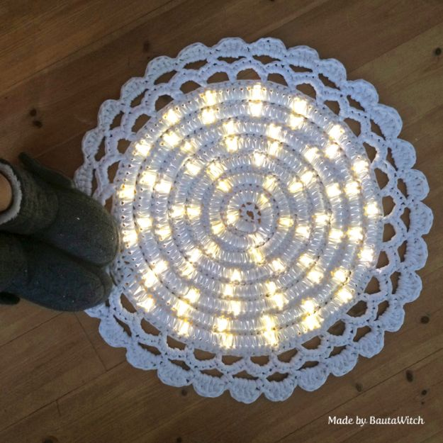 DIY Rugs - DIY Lighted Rug - Ideas for An Easy Handmade Rug for Living Room, Bedroom, Kitchen Mat and Cheap Area Rugs You Can Make - Stencil Art Tutorial, Painting Tips, Fabric, Yarn, Old Denim Jeans, Rope, Tshirt, Pom Pom, Fur, Crochet, Woven and Outdoor Projects - Large and Small Carpet http://diyjoy.com/diy-rug-tutorials