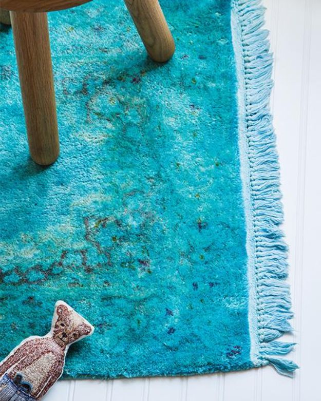 DIY Rugs - DIY Overdyed Rug - Ideas for An Easy Handmade Rug for Living Room, Bedroom, Kitchen Mat and Cheap Area Rugs You Can Make - Stencil Art Tutorial, Painting Tips, Fabric, Yarn, Old Denim Jeans, Rope, Tshirt, Pom Pom, Fur, Crochet, Woven and Outdoor Projects - Large and Small Carpet http://diyjoy.com/diy-rug-tutorials