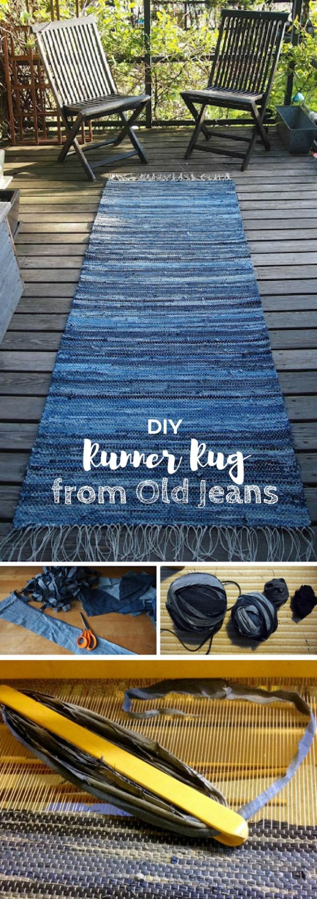 DIY Rugs - Denim Rug From Old Jeans - Ideas for An Easy Handmade Rug for Living Room, Bedroom, Kitchen Mat and Cheap Area Rugs You Can Make - Stencil Art Tutorial, Painting Tips, Fabric, Yarn, Old Denim Jeans, Rope, Tshirt, Pom Pom, Fur, Crochet, Woven and Outdoor Projects - Large and Small Carpet http://diyjoy.com/diy-rug-tutorials