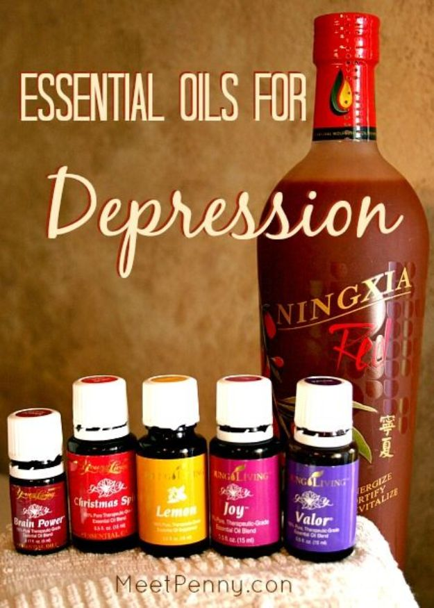 DIY Essential Oil Recipes and Ideas - Essential Oils for Depression - Cool Recipes, Crafts and Home Decor to Make With Essential Oil - Diffuser Projects, Roll On Prodicts for Skin - Recipe Tutorials for Cleaning, Colds, For Sleep, For Hair, For Paint, For Weight Loss http://diyjoy.com/diy-ideas-essential-oils