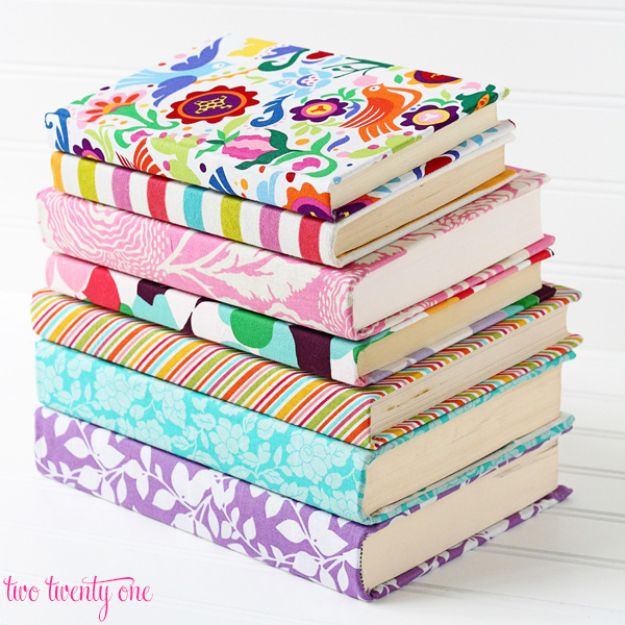 DIY Journals - Fabric Covered Book Journal - Ideas For Making A Handmade Journal - Cover Art Tutorial, Binding Tips, Easy Craft Ideas for Kids and For Teens - Step By Step Instructions for Making From Scratch, From An Old Book - Leather, Faux Marble, Paper, Monogram, Cute Do It Yourself Gift Idea http://diyjoy.com/diy-journals
