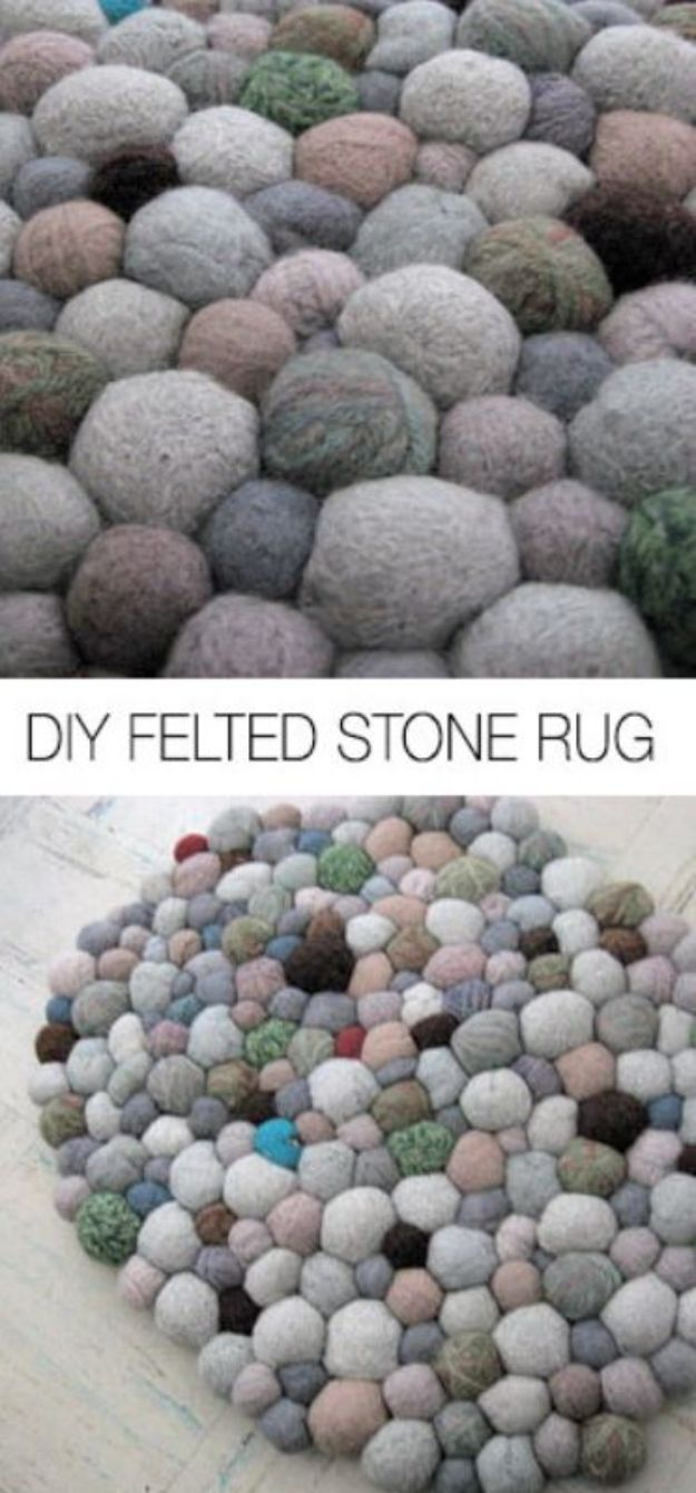 DIY Rugs - Felted Stone Rug - Ideas for An Easy Handmade Rug for Living Room, Bedroom, Kitchen Mat and Cheap Area Rugs You Can Make - Stencil Art Tutorial, Painting Tips, Fabric, Yarn, Old Denim Jeans, Rope, Tshirt, Pom Pom, Fur, Crochet, Woven and Outdoor Projects - Large and Small Carpet http://diyjoy.com/diy-rug-tutorials