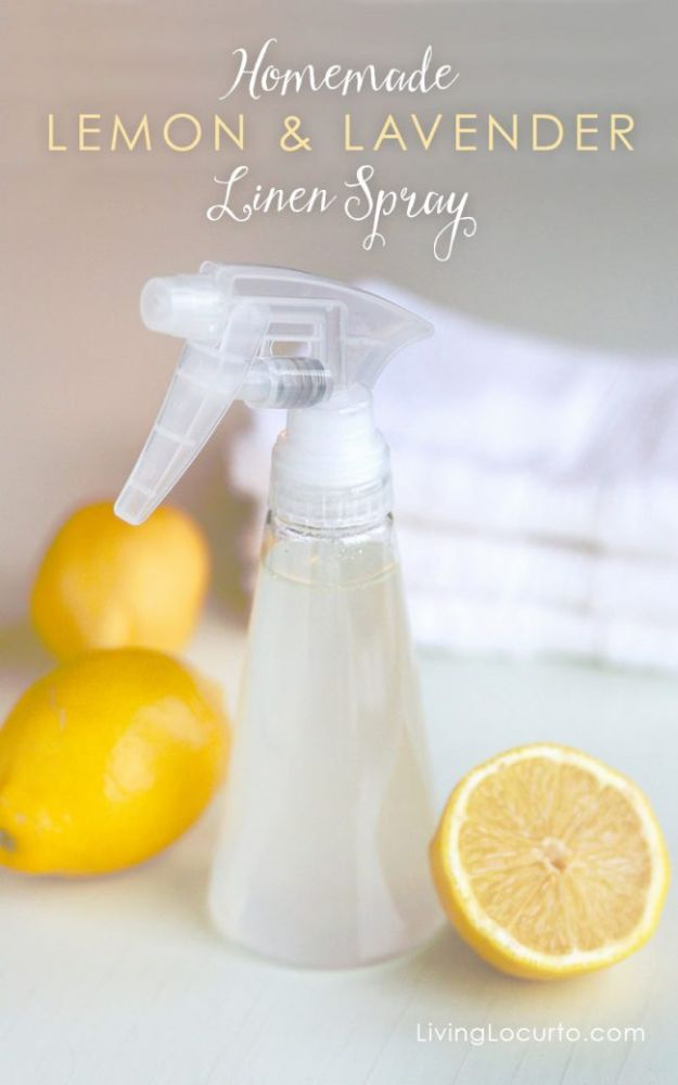 DIY Essential Oil Recipes and Ideas - Homemade Lemon & Lavender Linen Spray - Cool Recipes, Crafts and Home Decor to Make With Essential Oil - Diffuser Projects, Roll On Prodicts for Skin - Recipe Tutorials for Cleaning, Colds, For Sleep, For Hair, For Paint, For Weight Loss http://diyjoy.com/diy-ideas-essential-oils