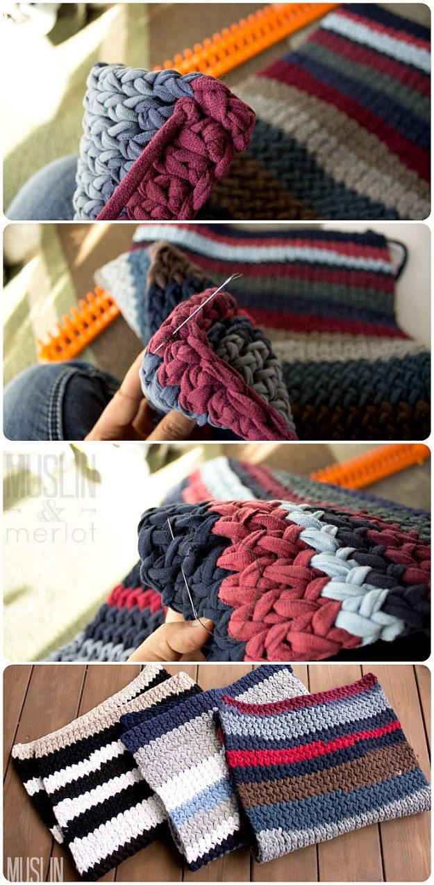 DIY Rugs - Knitting Loom T-Shirt Rug - Ideas for An Easy Handmade Rug for Living Room, Bedroom, Kitchen Mat and Cheap Area Rugs You Can Make - Stencil Art Tutorial, Painting Tips, Fabric, Yarn, Old Denim Jeans, Rope, Tshirt, Pom Pom, Fur, Crochet, Woven and Outdoor Projects - Large and Small Carpet http://diyjoy.com/diy-rug-tutorials