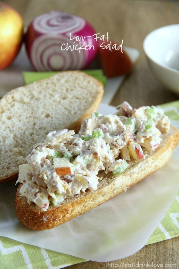 Best Lowfat Recipes - Low-Fat Chicken Salad - Easy Low fat and Healthy Recipe Ideas For Eating Well and Dieting, Weight Loss - Quick Breakfasts, Lunch, Dinner, Snack and Desserts - Foods with Chicken, Vegetables, Salad, Low Carb, Beef, Egg, Gluten Free http://diyjoy.com/best-lowfat-recipes