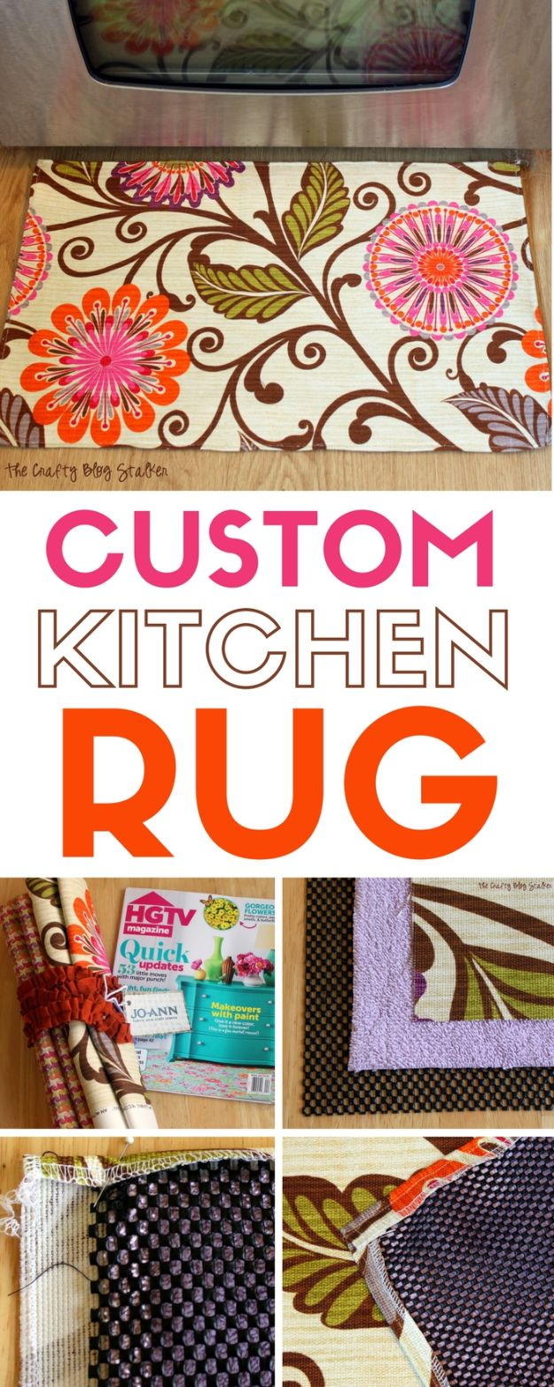 DIY Rugs - Make A Custom Kitchen Rug - Ideas for An Easy Handmade Rug for Living Room, Bedroom, Kitchen Mat and Cheap Area Rugs You Can Make - Stencil Art Tutorial, Painting Tips, Fabric, Yarn, Old Denim Jeans, Rope, Tshirt, Pom Pom, Fur, Crochet, Woven and Outdoor Projects - Large and Small Carpet http://diyjoy.com/diy-rug-tutorials