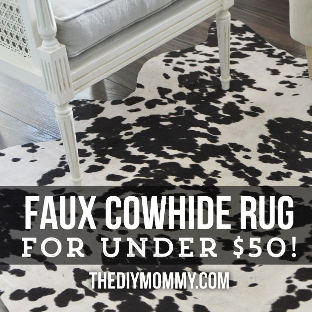 DIY Rugs - Make a Faux Cowhide Rug for Under $50 - Ideas for An Easy Handmade Rug for Living Room, Bedroom, Kitchen Mat and Cheap Area Rugs You Can Make - Stencil Art Tutorial, Painting Tips, Fabric, Yarn, Old Denim Jeans, Rope, Tshirt, Pom Pom, Fur, Crochet, Woven and Outdoor Projects - Large and Small Carpet http://diyjoy.com/diy-rug-tutorials