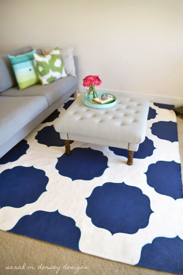 DIY Rugs - Moroccan Stenciled Rug - Ideas for An Easy Handmade Rug for Living Room, Bedroom, Kitchen Mat and Cheap Area Rugs You Can Make - Stencil Art Tutorial, Painting Tips, Fabric, Yarn, Old Denim Jeans, Rope, Tshirt, Pom Pom, Fur, Crochet, Woven and Outdoor Projects - Large and Small Carpet http://diyjoy.com/diy-rug-tutorials