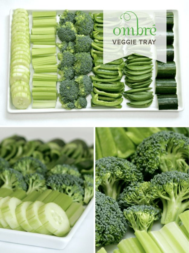 St Patrick's Day Food and Recipe Ideas - Ombre Veggie Tray For St. Patrick's Day - DIY St. Patrick's Day Party Recipes for Dinner, Desserts, Cookies, Cakes, Snacks, Dips and Drinks - Green Shamrocks, Leprechauns and Cute Party Foods - Easy Appetizers and Healthy Treats for Adults and Kids To Make - Potluck, Crockpot, Traditional and Corned Beef http://diyjoy.com/st-patricks-day-recipes