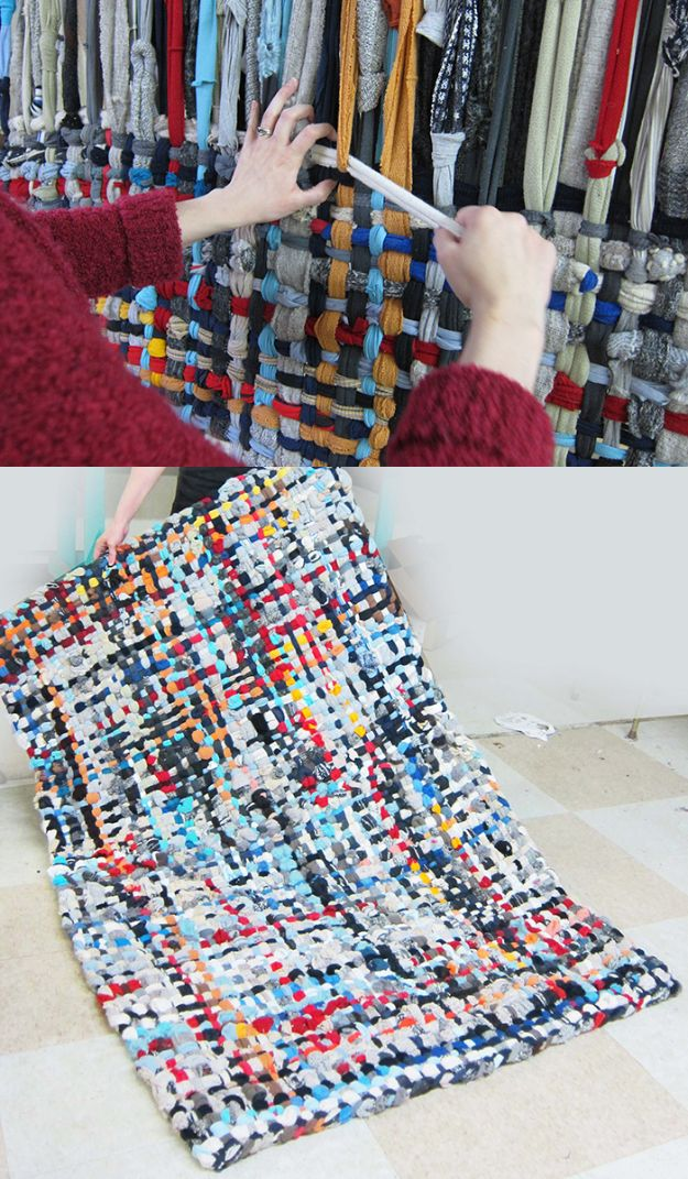 DIY Rugs - Pot Holder Area Rugs - Ideas for An Easy Handmade Rug for Living Room, Bedroom, Kitchen Mat and Cheap Area Rugs You Can Make - Stencil Art Tutorial, Painting Tips, Fabric, Yarn, Old Denim Jeans, Rope, Tshirt, Pom Pom, Fur, Crochet, Woven and Outdoor Projects - Large and Small Carpet http://diyjoy.com/diy-rug-tutorials