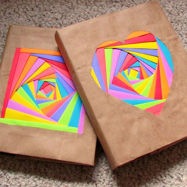 DIY Journals - Rainbow Journal Cover - Ideas For Making A Handmade Journal - Cover Art Tutorial, Binding Tips, Easy Craft Ideas for Kids and For Teens - Step By Step Instructions for Making From Scratch, From An Old Book - Leather, Faux Marble, Paper, Monogram, Cute Do It Yourself Gift Idea http://diyjoy.com/diy-journals
