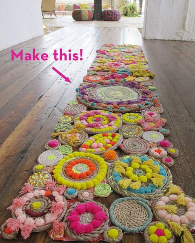 DIY Rugs - Rope Swirl Rug - Ideas for An Easy Handmade Rug for Living Room, Bedroom, Kitchen Mat and Cheap Area Rugs You Can Make - Stencil Art Tutorial, Painting Tips, Fabric, Yarn, Old Denim Jeans, Rope, Tshirt, Pom Pom, Fur, Crochet, Woven and Outdoor Projects - Large and Small Carpet http://diyjoy.com/diy-rug-tutorials