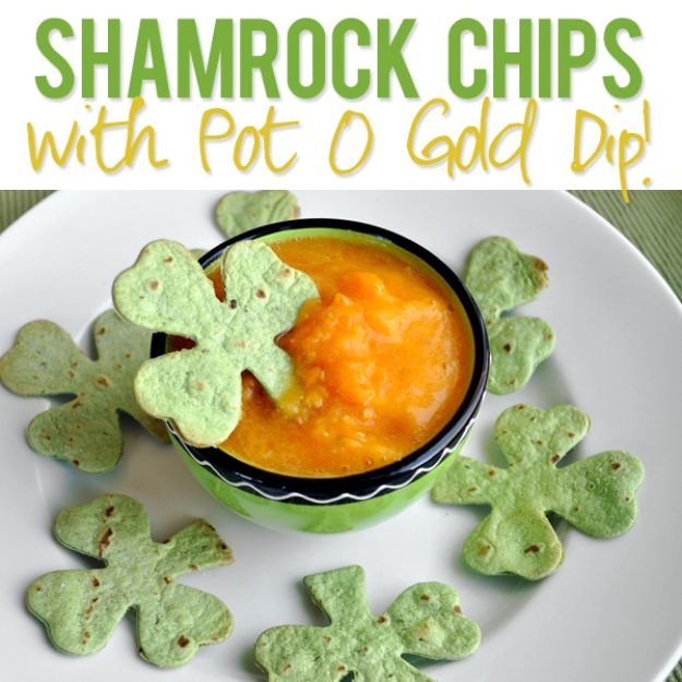 St Patrick's Day Food and Recipe Ideas - Shamrock Chips with Pot O Gold Dip - DIY St. Patrick's Day Party Recipes for Dinner, Desserts, Cookies, Cakes, Snacks, Dips and Drinks - Green Shamrocks, Leprechauns and Cute Party Foods - Easy Appetizers and Healthy Treats for Adults and Kids To Make - Potluck, Crockpot, Traditional and Corned Beef http://diyjoy.com/st-patricks-day-recipes