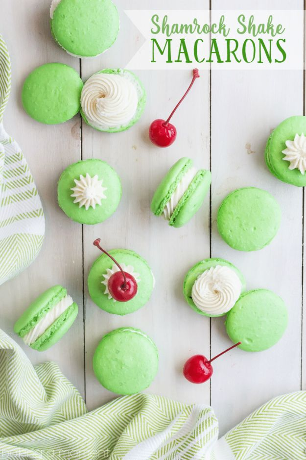 St Patrick's Day Food and Recipe Ideas - Shamrock Shake Macarons - DIY St. Patrick's Day Party Recipes for Dinner, Desserts, Cookies, Cakes, Snacks, Dips and Drinks - Green Shamrocks, Leprechauns and Cute Party Foods - Easy Appetizers and Healthy Treats for Adults and Kids To Make - Potluck, Crockpot, Traditional and Corned Beef http://diyjoy.com/st-patricks-day-recipes