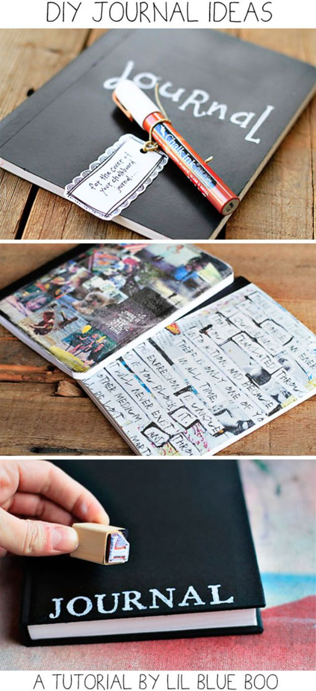 DIY Journals - Simple Stamped Journal - Ideas For Making A Handmade Journal - Cover Art Tutorial, Binding Tips, Easy Craft Ideas for Kids and For Teens - Step By Step Instructions for Making From Scratch, From An Old Book - Leather, Faux Marble, Paper, Monogram, Cute Do It Yourself Gift Idea http://diyjoy.com/diy-journals