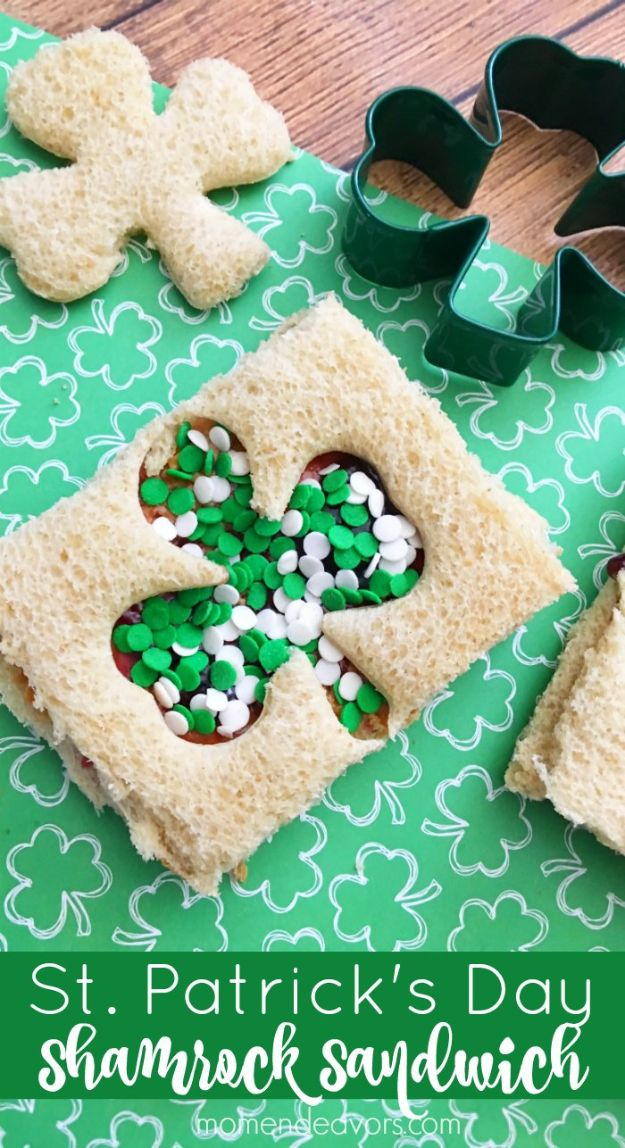 St Patrick's Day Food and Recipe Ideas - St. Patrick's Day Shamrock Sandwiches - DIY St. Patrick's Day Party Recipes for Dinner, Desserts, Cookies, Cakes, Snacks, Dips and Drinks - Green Shamrocks, Leprechauns and Cute Party Foods - Easy Appetizers and Healthy Treats for Adults and Kids To Make - Potluck, Crockpot, Traditional and Corned Beef http://diyjoy.com/st-patricks-day-recipes