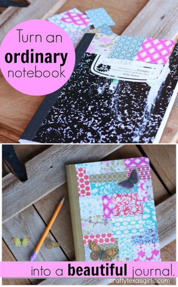 DIY Journals - Turn An Ordinary Notebook Into A Beautiful Journal - Ideas For Making A Handmade Journal - Cover Art Tutorial, Binding Tips, Easy Craft Ideas for Kids and For Teens - Step By Step Instructions for Making From Scratch, From An Old Book - Leather, Faux Marble, Paper, Monogram, Cute Do It Yourself Gift Idea http://diyjoy.com/diy-journals