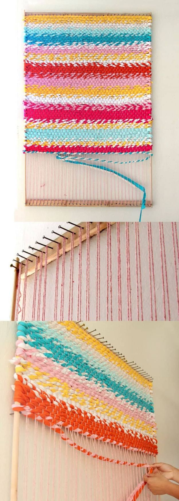 DIY Rugs - Weave A T-Shirt Rug With Easy DIY Loom - Ideas for An Easy Handmade Rug for Living Room, Bedroom, Kitchen Mat and Cheap Area Rugs You Can Make - Stencil Art Tutorial, Painting Tips, Fabric, Yarn, Old Denim Jeans, Rope, Tshirt, Pom Pom, Fur, Crochet, Woven and Outdoor Projects - Large and Small Carpet http://diyjoy.com/diy-rug-tutorials