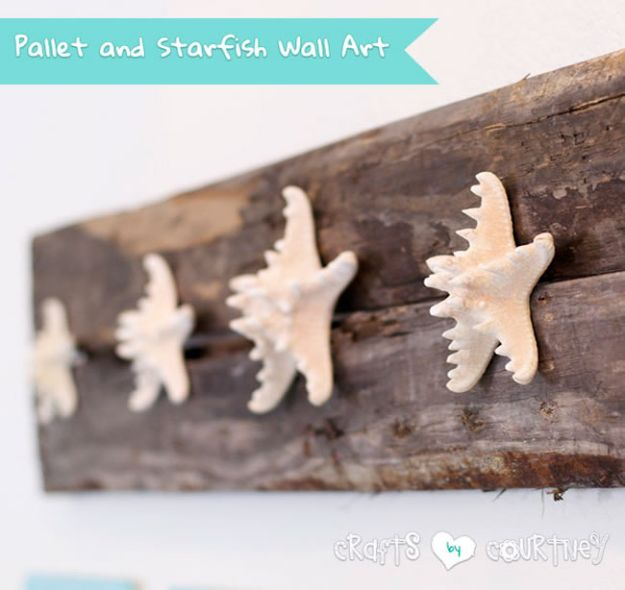 DIY Beach House Decor - Build A Beachy Pallet And Starfish Wall Craft - Cool DIY Decor Ideas While On A Budget - Cool Ideas for Decorating Your Beach Home With Shells, Sand and Summer Wall Art - Crafts and Do It Yourself Projects With A Breezy, Blue, Summery Feel - White Decor and Shiplap, Birchwood Boats, Beachy Sea Glass Art Projects for Living Room, Bedroom and Kitchen http://diyjoy.com/diy-beach-house-decor