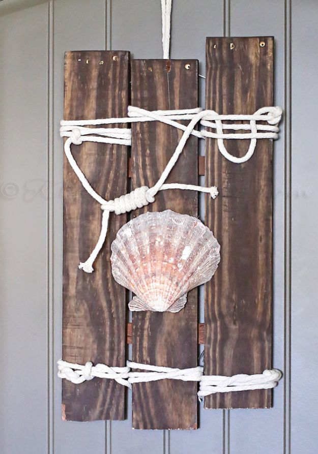 DIY Beach House Decor - Coastal Pallet Art - Cool DIY Decor Ideas While On A Budget - Cool Ideas for Decorating Your Beach Home With Shells, Sand and Summer Wall Art - Crafts and Do It Yourself Projects With A Breezy, Blue, Summery Feel - White Decor and Shiplap, Birchwood Boats, Beachy Sea Glass Art Projects for Living Room, Bedroom and Kitchen http://diyjoy.com/diy-beach-house-decor