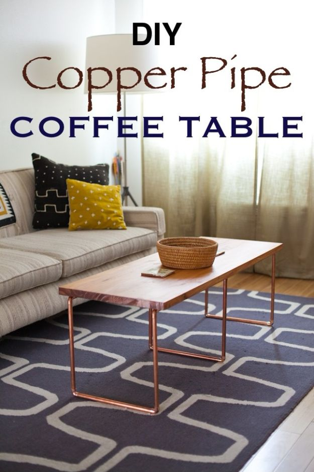 DIY Coffee Tables - DIY Copper Pipe Coffee Table - Easy Do It Yourself Furniture Ideas for The Living Room Table - Cool Projects for Making a Coffee Table With Crates, Boxes, Stone, Industrial Pipe, Tile, Pallets, Old Doors, Windows and Repurposed Wood Planks - Rustic Farmhouse Home Decor, Modern Decorating Ideas, Simply Shabby Chic and All White Looks for Minimalist Interiors http://diyjoy.com/diy-coffee-table-ideas