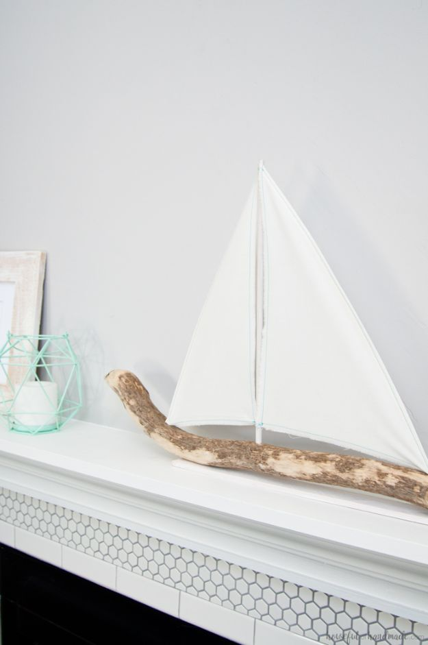 DIY Beach House Decor - DIY Driftwood Sailboat Decor - Cool DIY Decor Ideas While On A Budget - Cool Ideas for Decorating Your Beach Home With Shells, Sand and Summer Wall Art - Crafts and Do It Yourself Projects With A Breezy, Blue, Summery Feel - White Decor and Shiplap, Birchwood Boats, Beachy Sea Glass Art Projects for Living Room, Bedroom and Kitchen http://diyjoy.com/diy-beach-house-decor