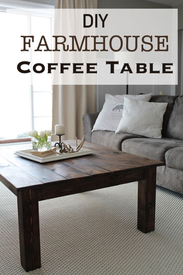 DIY Coffee Tables - DIY Farmhouse Coffee Table - Easy Do It Yourself Furniture Ideas for The Living Room Table - Cool Projects for Making a Coffee Table With Crates, Boxes, Stone, Industrial Pipe, Tile, Pallets, Old Doors, Windows and Repurposed Wood Planks - Rustic Farmhouse Home Decor, Modern Decorating Ideas, Simply Shabby Chic and All White Looks for Minimalist Interiors http://diyjoy.com/diy-coffee-table-ideas