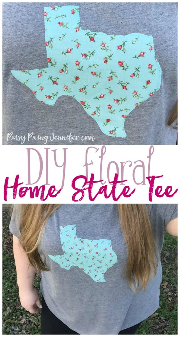 Cool State Crafts - DIY Home State Tee - Easy Craft Projects To Show Your Love For Your Home State - Best DIY Ideas Using Maps, String Art Shaped Like States, Quotes, Sayings and Wall Art Ideas, Painted Canvases, Cute Pillows, Fun Gifts and DIY Decor Made Simple - Creative Decorating Ideas for Living Room, Kitchen, Bedroom, Bath and Porch http://diyjoy.com/cool-state-crafts