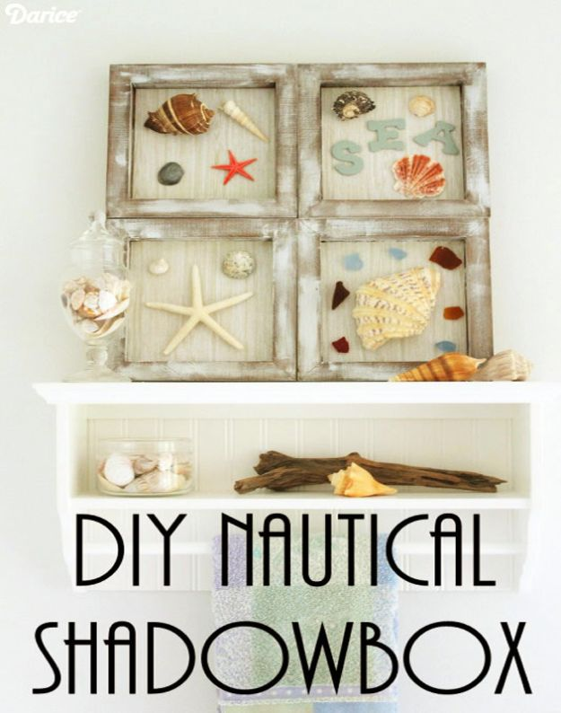 DIY Beach House Decor - DIY Nautical Shadowbox - Cool DIY Decor Ideas While On A Budget - Cool Ideas for Decorating Your Beach Home With Shells, Sand and Summer Wall Art - Crafts and Do It Yourself Projects With A Breezy, Blue, Summery Feel - White Decor and Shiplap, Birchwood Boats, Beachy Sea Glass Art Projects for Living Room, Bedroom and Kitchen http://diyjoy.com/diy-beach-house-decor