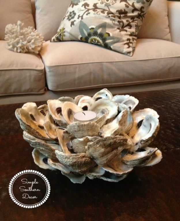 DIY Beach House Decor - DIY Oyster Shell Candle Holder - Cool DIY Decor Ideas While On A Budget - Cool Ideas for Decorating Your Beach Home With Shells, Sand and Summer Wall Art - Crafts and Do It Yourself Projects With A Breezy, Blue, Summery Feel - White Decor and Shiplap, Birchwood Boats, Beachy Sea Glass Art Projects for Living Room, Bedroom and Kitchen http://diyjoy.com/diy-beach-house-decor